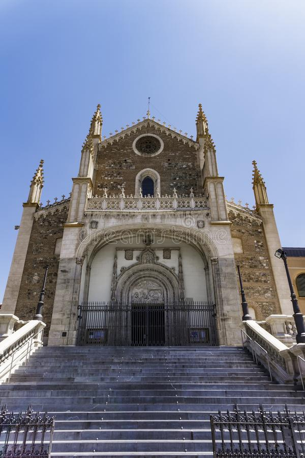Kirche Madrids, Spanien Fassade Sans Jeronimo el Real stockbilder