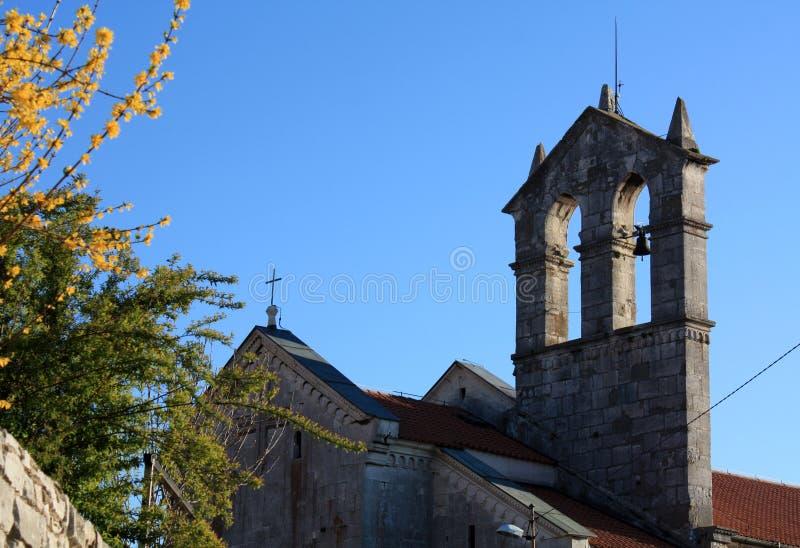 Kirche mit Glockenturm in den Pula sehen im Fr?hjahr Zeit mit bl?hender Forsythie an stockfoto