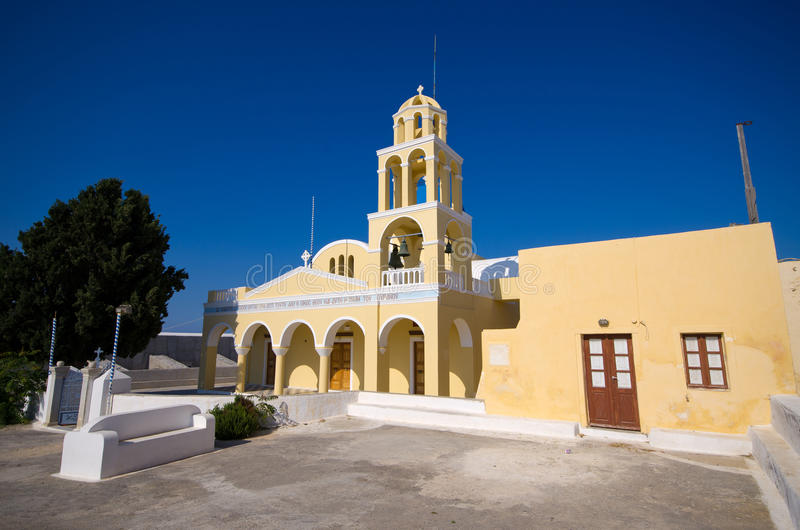 Kirche in Oia-Stadt auf Santorini, Griechenland stockbilder
