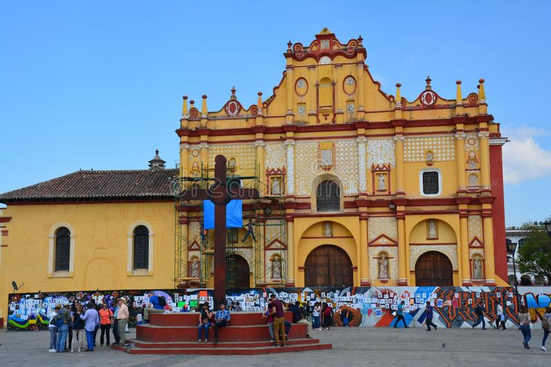 Kirche San Cristobal de Las Casas Chiapas Mexiko lizenzfreie stockbilder