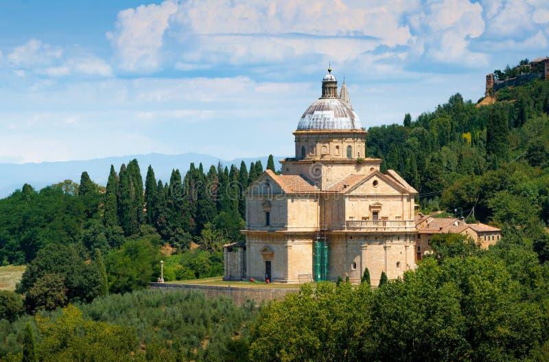 Kirche Sans Biagio außerhalb Montepulciano, Toskana, Italien lizenzfreie stockbilder