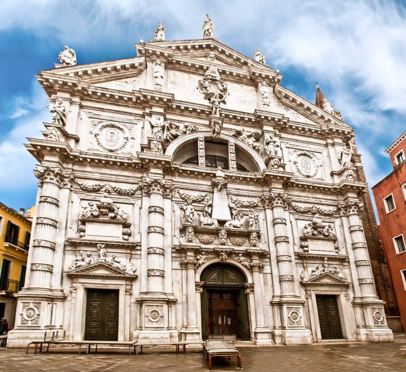 Kirche Sans Moisè in Venedig, Italien stockbild
