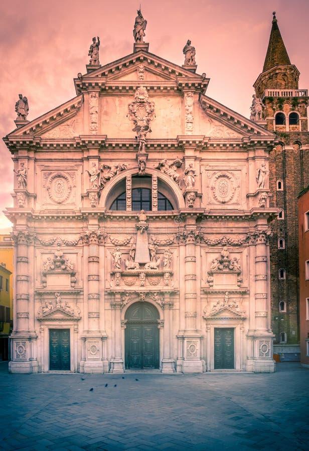 Kirche Sans Moise in Venedig stockbilder