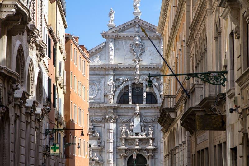 Kirche Sans Moise, in Venedig, Italien stockbilder