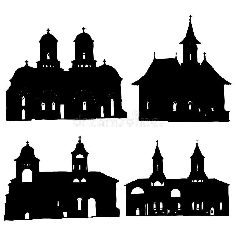 Kirche-Schattenbilder stock abbildung