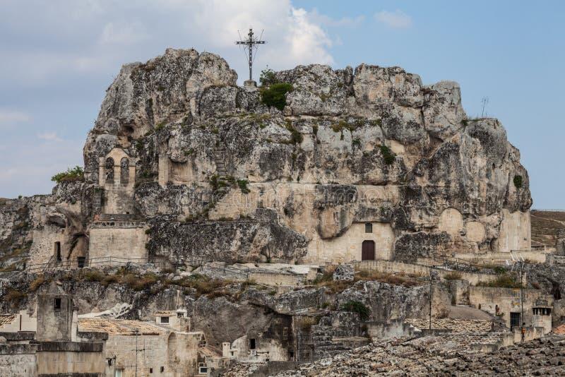Kirche schnitzte in den Felsen Matera, Italien lizenzfreie stockbilder