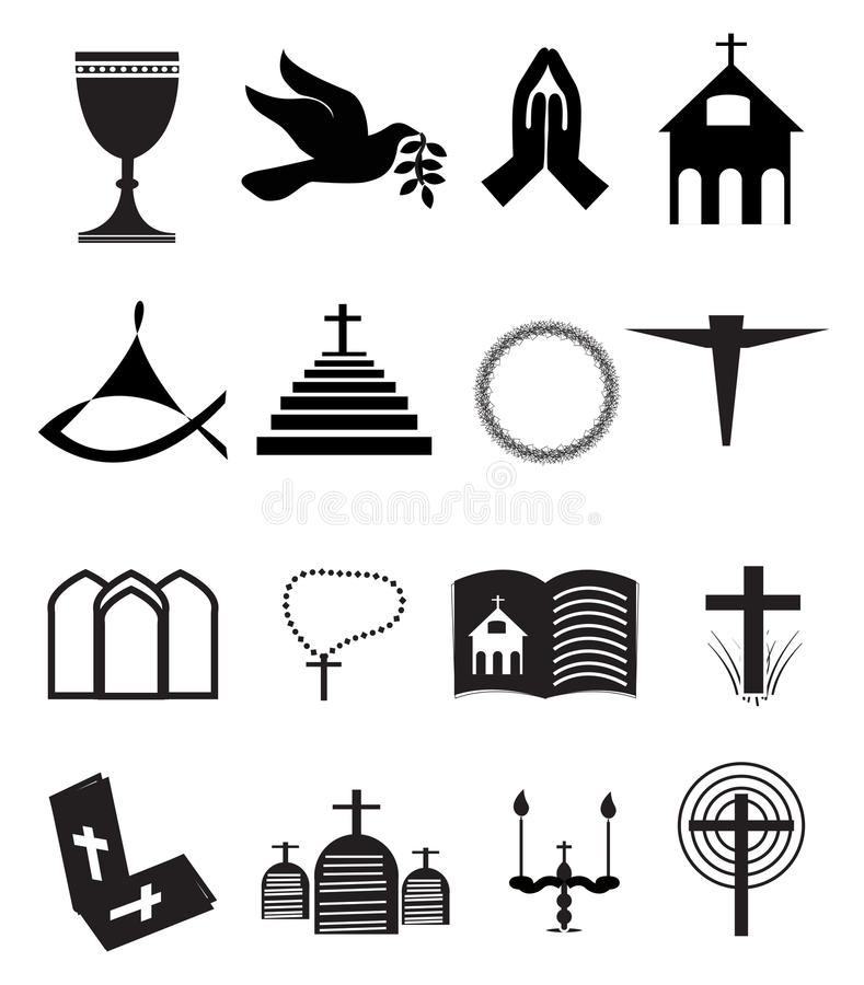 Kirche und andere christliche Symbol-Ikonen eingestellt vektor abbildung