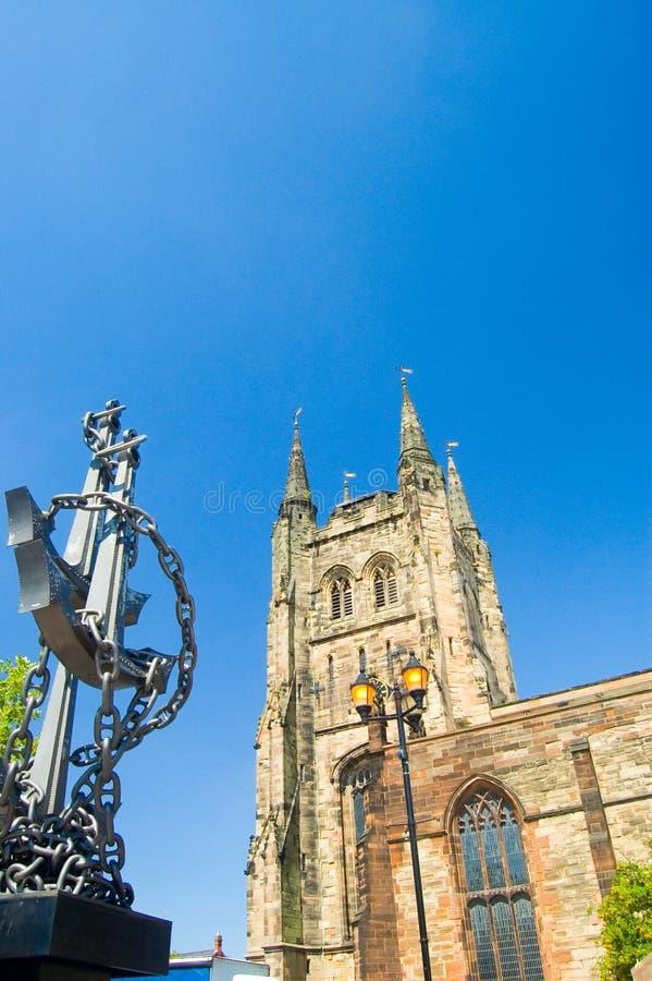 Kirche und Anker stockfotos