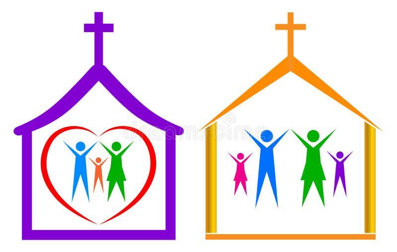 Kirche und Familie stock abbildung