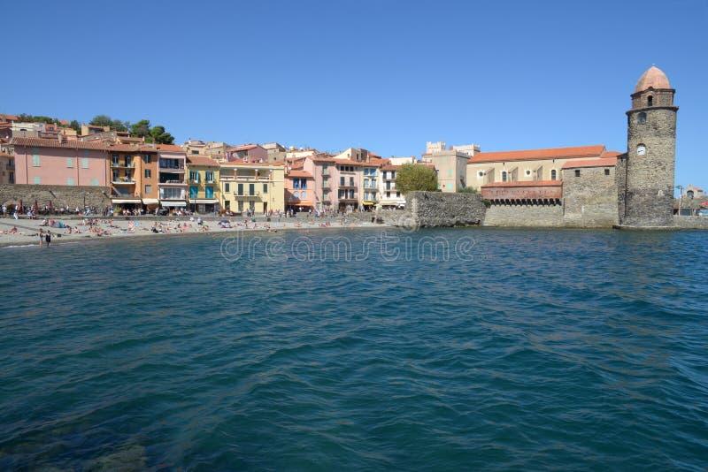 Kirche unserer Dame der Engel Collioure stockfotos
