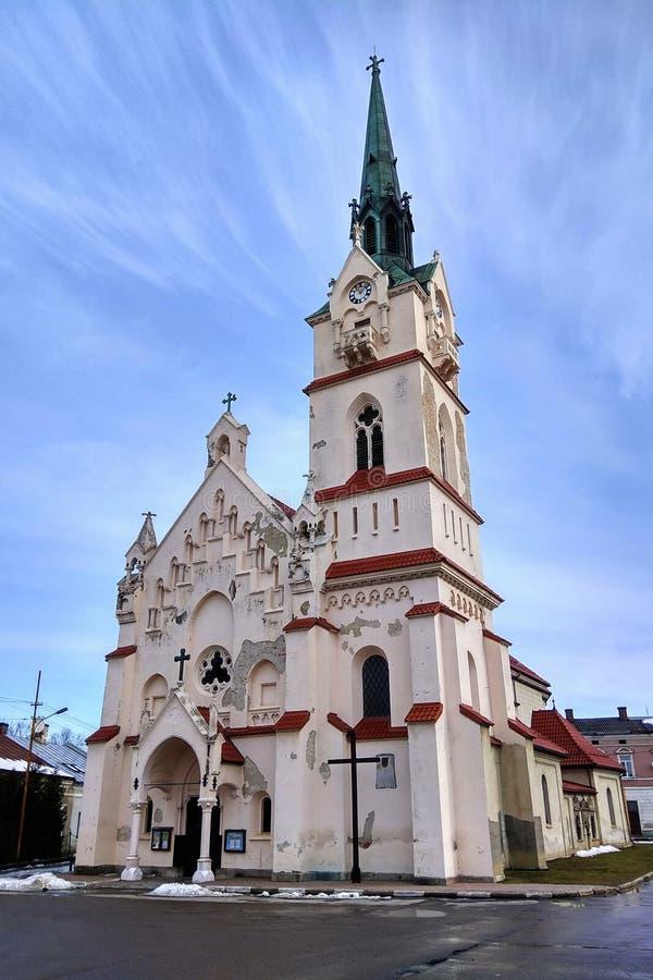 Kirche unserer Dame Protectress in Stryi, Ukraine stockbild