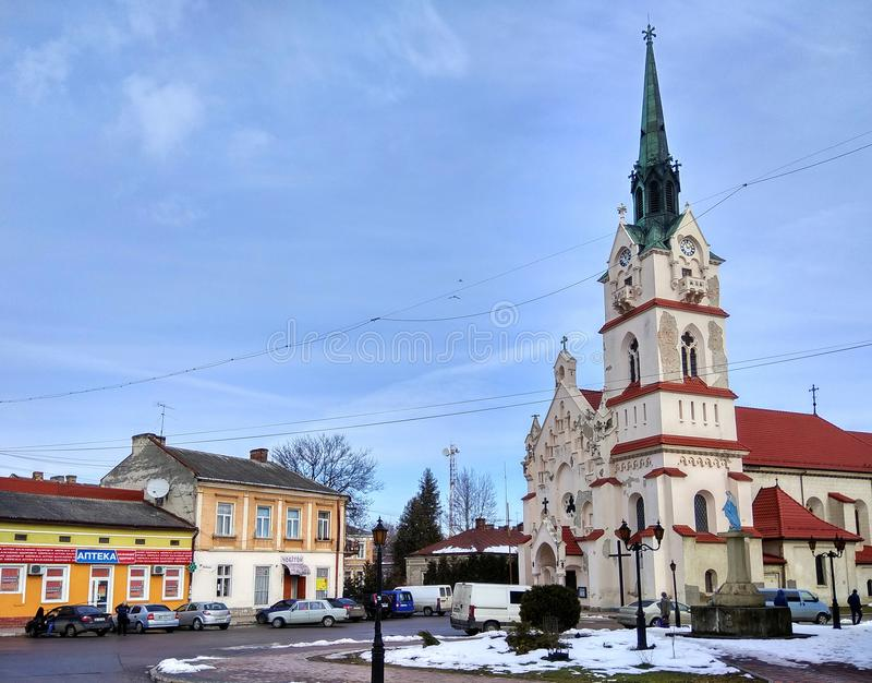 Kirche unserer Dame Protectress in Stryi, Ukraine stockfotografie