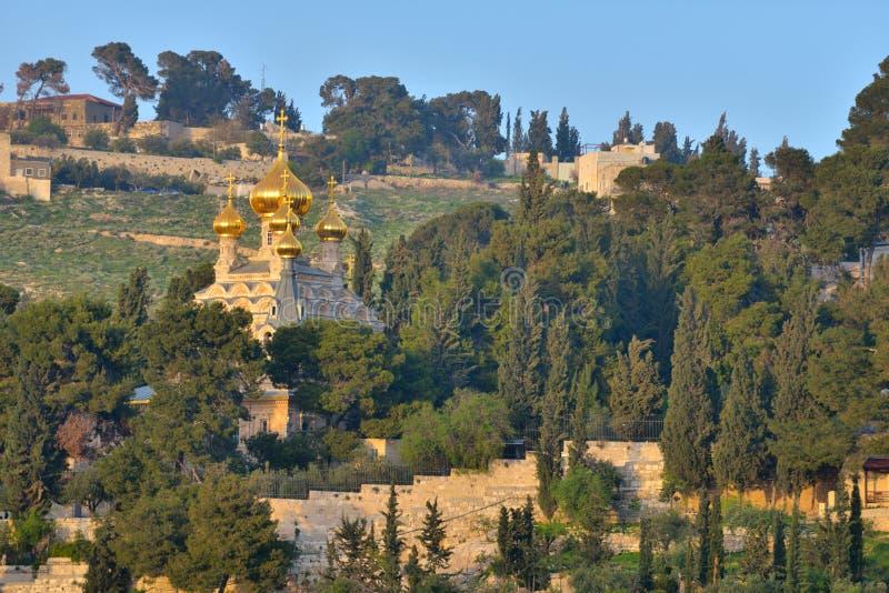 Kirche von Mary Magdalene auf dem Ölberg in Jerusalem stockfoto