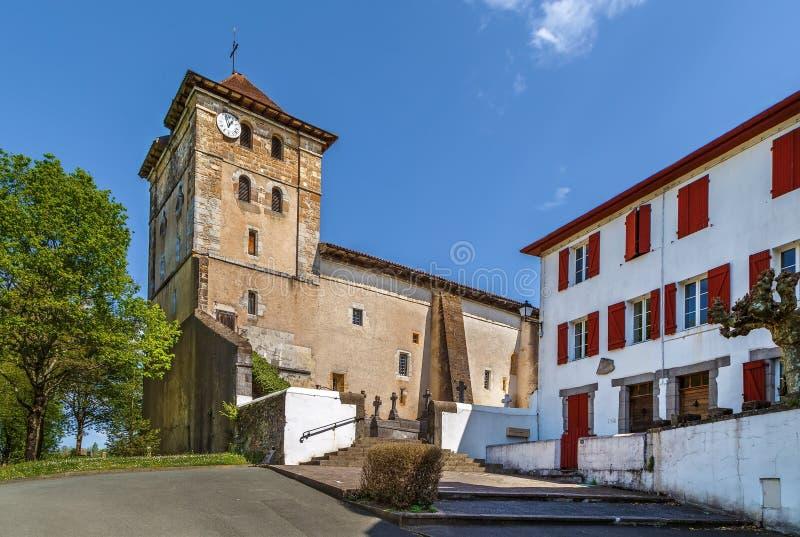 Kirche von Saint Etienne in Espelette, Frankreich stockfoto