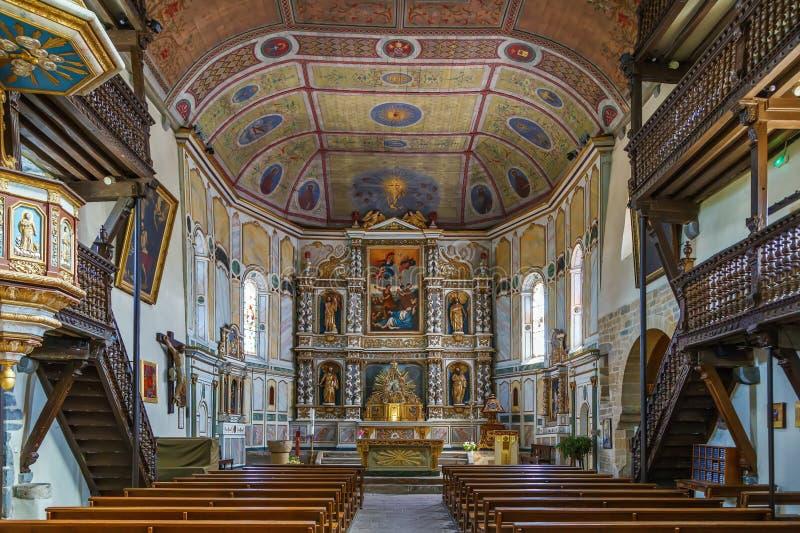 Kirche von Saint Etienne in Espelette, Frankreich stockfotografie