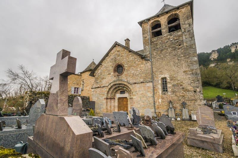Kirche von Saint Saturnin-sur Tartaronne, Frankreich stockfotografie