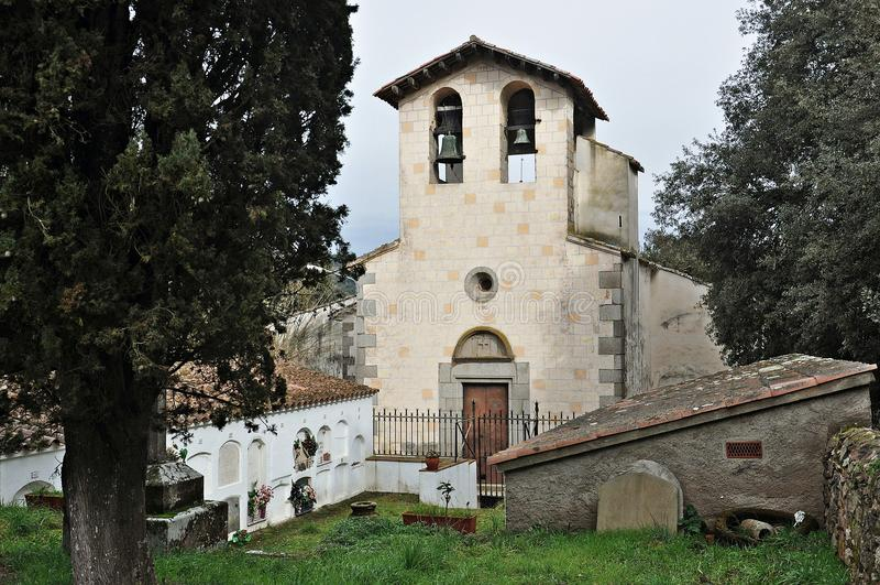 Kirche von Sant Esteve de Olzinelles-Barcelona stockfotos
