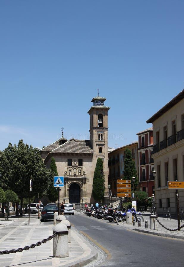 Kirche von Santa Anna Iglesia de Santa Anna Wall Granada Andalusien Spanien errichtet in den 1500s in der Mudejar Art auf Rio Dar stockbild