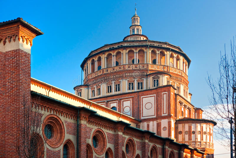 Kirche von Santa Maria delle Grazie, Mailand, Italien, lizenzfreies stockfoto