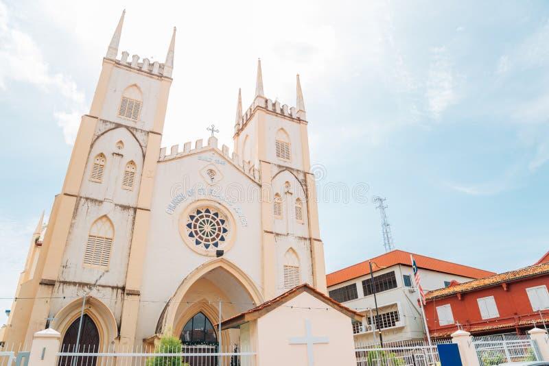 Kirche von St. Francis Xavier in Malakka, Malaysia stockbilder