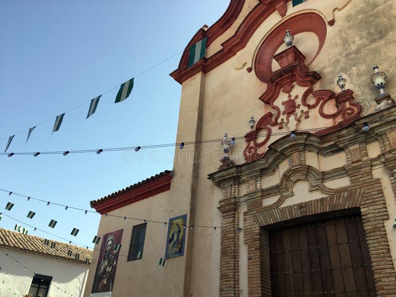 Kirche in Zahara, Andalusien, Spanien während des Feria lizenzfreies stockbild