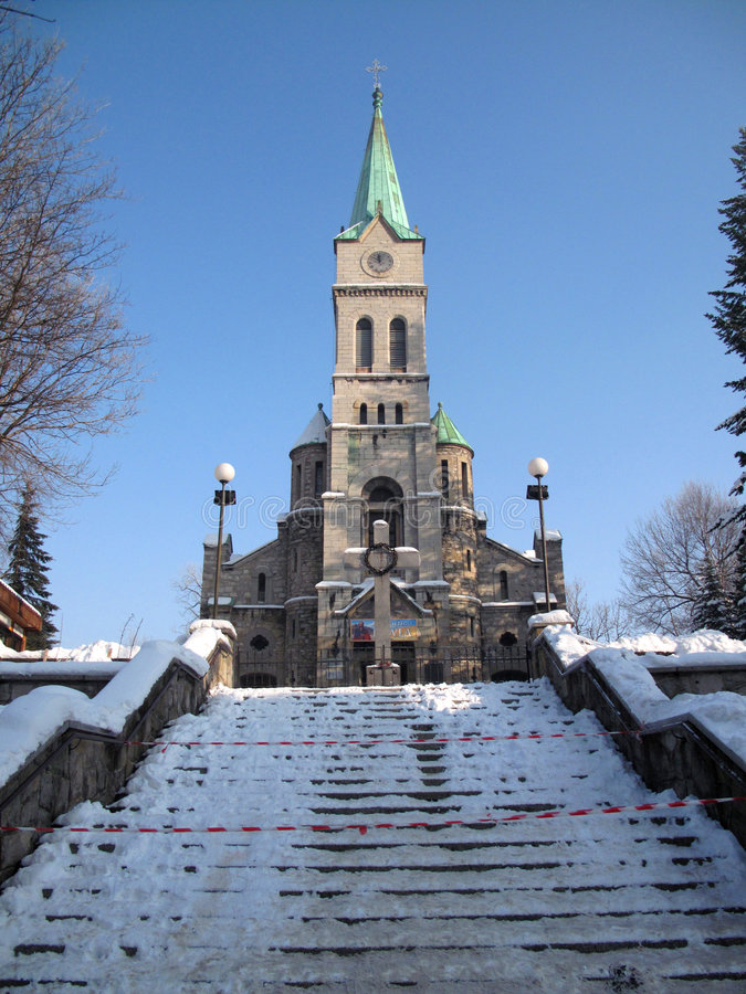 Kirche in Zakopane stockbild