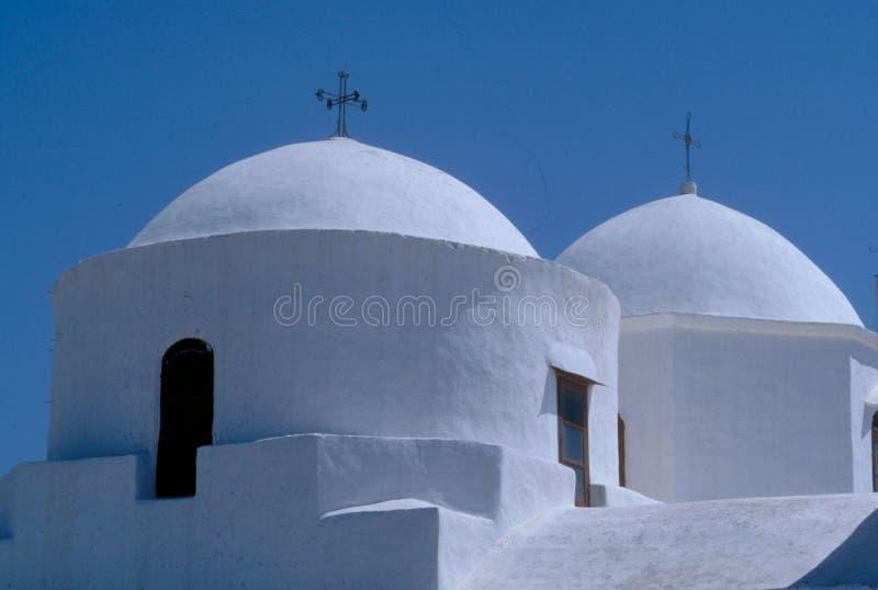 Kirchehauben in Patmos stockfotos