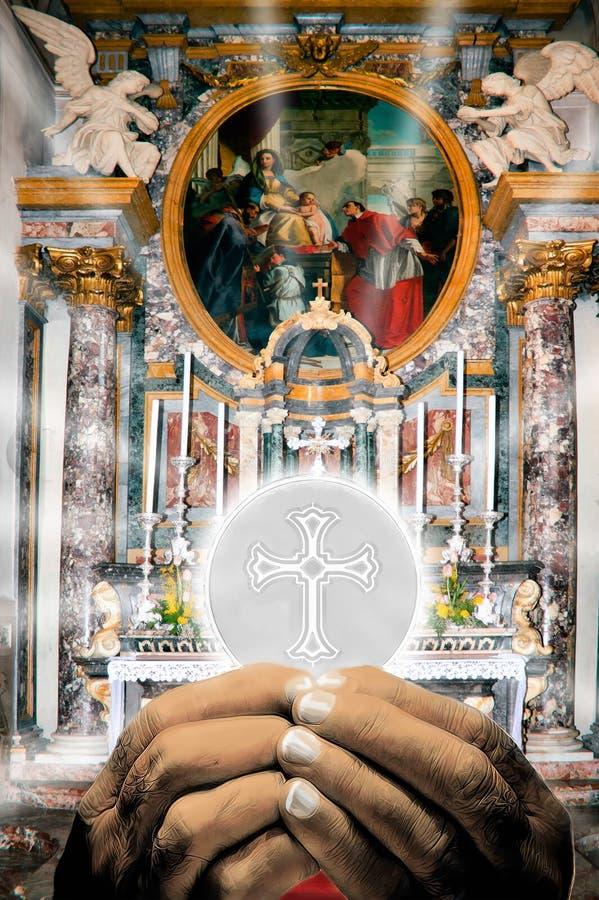 Kircheinnenraum mit heiligem Hauptrechner vektor abbildung
