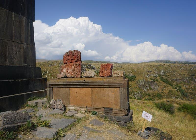 Kirchen-Kreuz Berg Aragats Vahramashen stockfoto