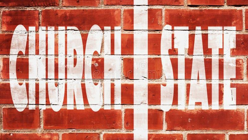 Kirchen-Staats-Wand der Trennung Auf einer Backsteinmauer stockfotografie