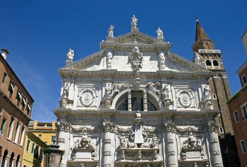 Kirchenfassade Sans Moise in Venedig stockfotografie