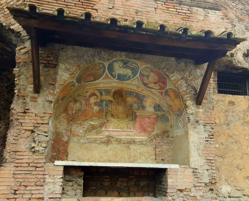 Kirchenfresko, Rom, Italien stockfotografie