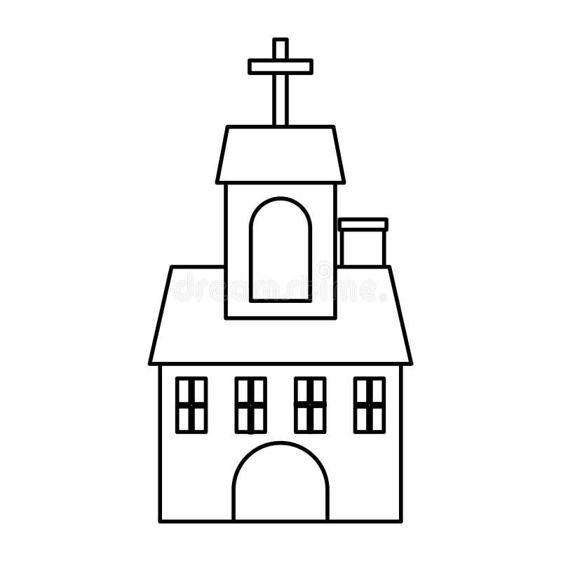 Kirchengebäude lokalisierte Ikone vektor abbildung