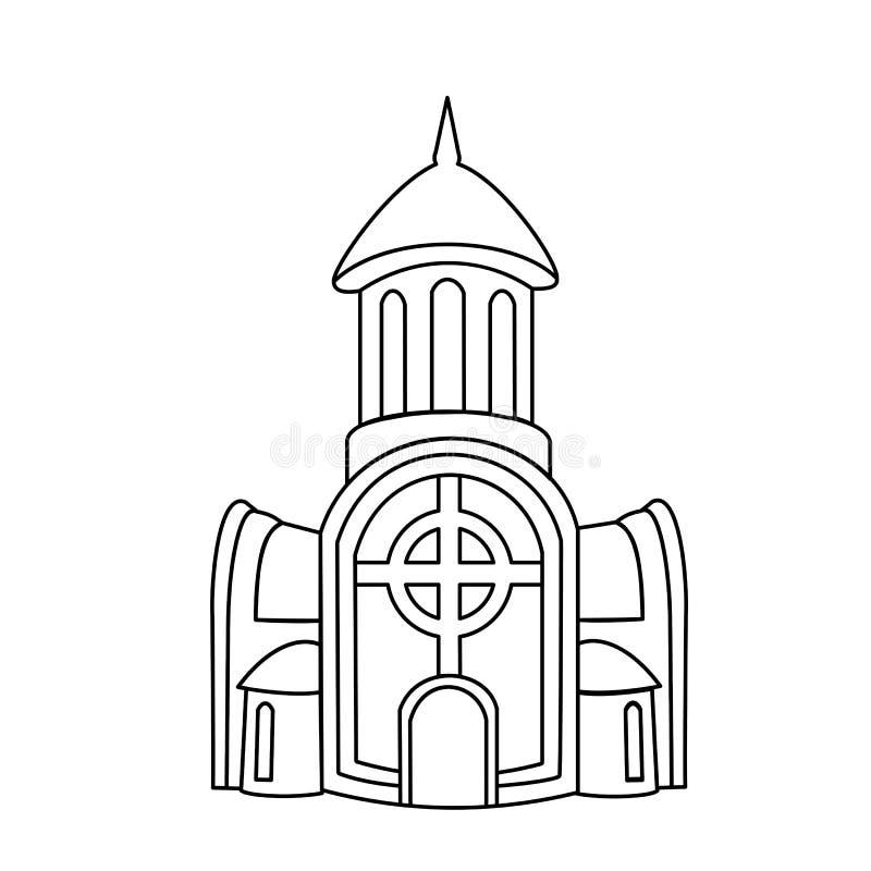 Kirchengebäudelinie Ikone, Entwurfszeichen, lineares Piktogramm lokalisiert auf Weiß Illustration des Logos für den Christen und stock abbildung