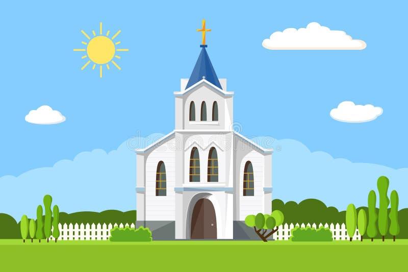 Kirchenikone Flache Sommer-Landschaft lizenzfreie abbildung