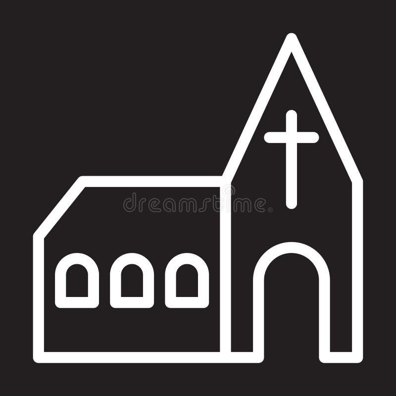 Kirchenlinie Ikone, weißes Entwurfszeichen, Vektorillustration lizenzfreie abbildung