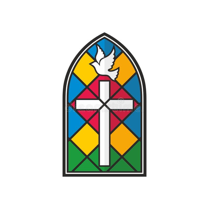 Kirchenlogo Buntglaskreuz und -taube lizenzfreie abbildung