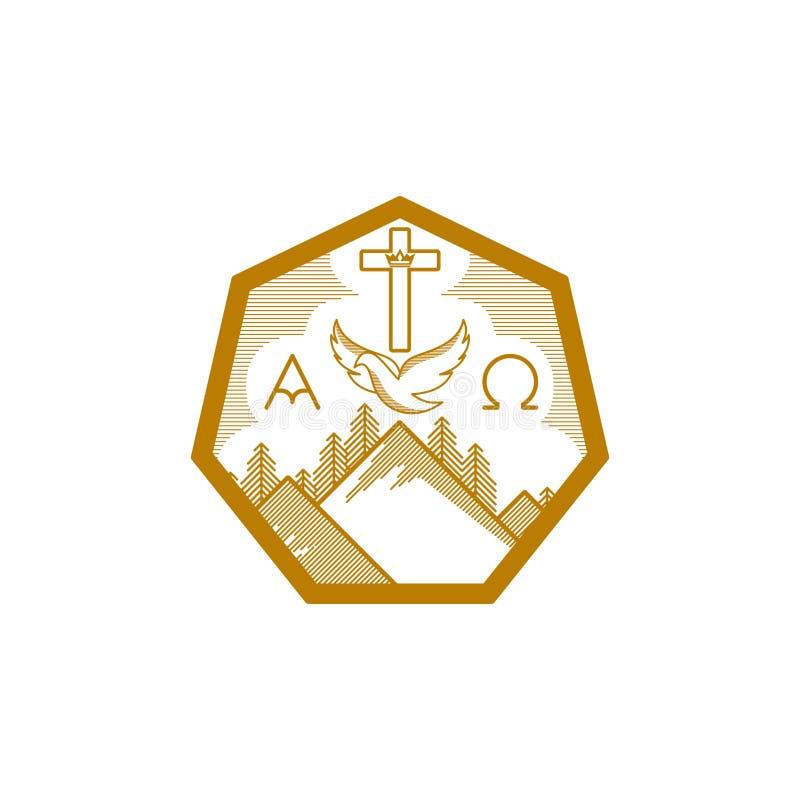 Kirchenlogo Christliche Symbole Berge, das Kreuz von Christus, die Taube und das Alpha und das Omega vektor abbildung