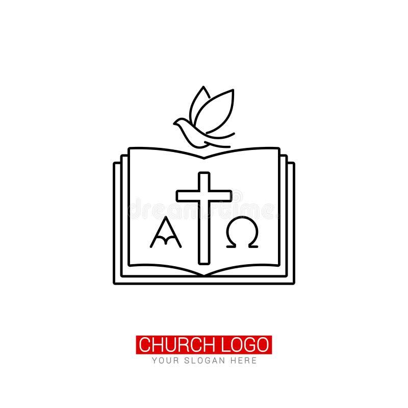 Kirchenlogo Christliche Symbole Das Kreuz von Jesus und von Taube auf dem Hintergrund einer offenen Bibel stock abbildung