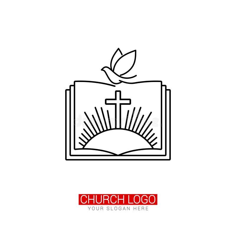 Kirchenlogo Christliche Symbole Das Kreuz von Jesus und von Taube auf dem Hintergrund einer offenen Bibel vektor abbildung