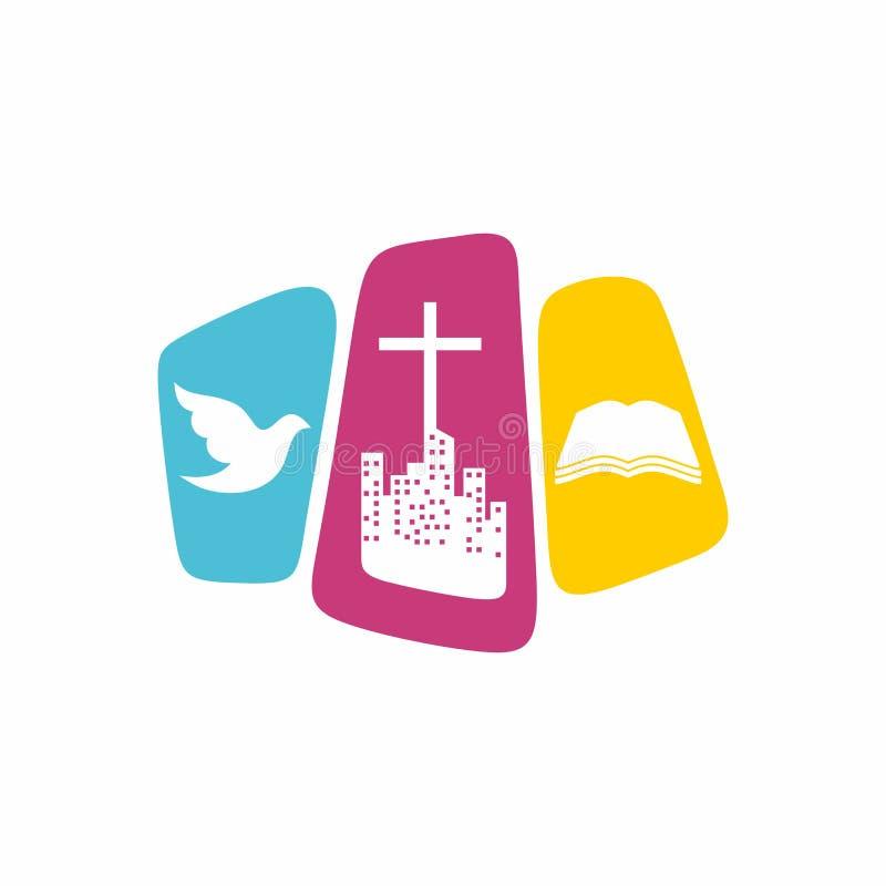Kirchenlogo Christliche Symbole Die Stadt und das Kreuz von Jesus Christ, von Taube - das Heiliger Geist und die Bibel lizenzfreie abbildung