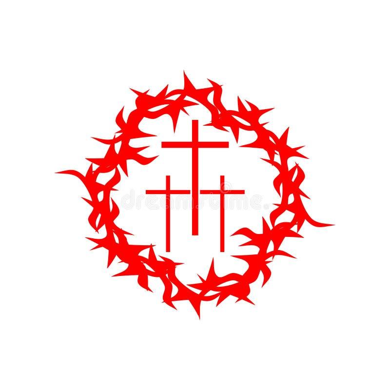 Kirchenlogo Christliche Symbole Dornenkrone und drei Kreuzen lizenzfreie abbildung