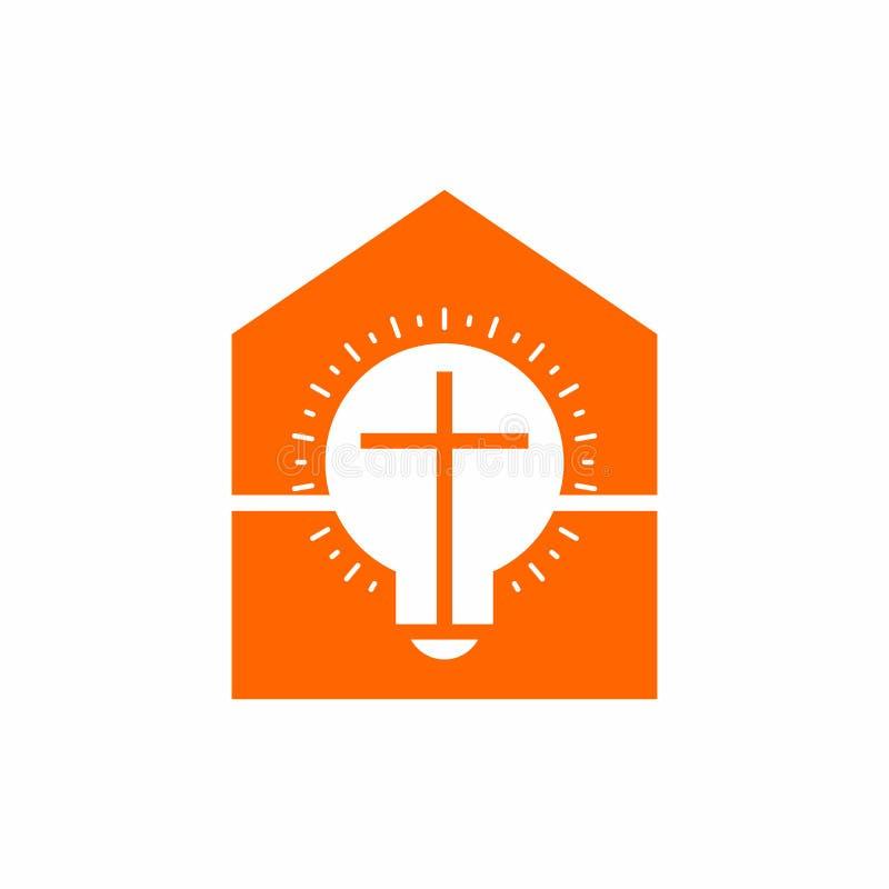 Kirchenlogo Christliche Symbole Haus, Lampe und Kreuz von Jesus Christ, Glanz strahlt aus stock abbildung