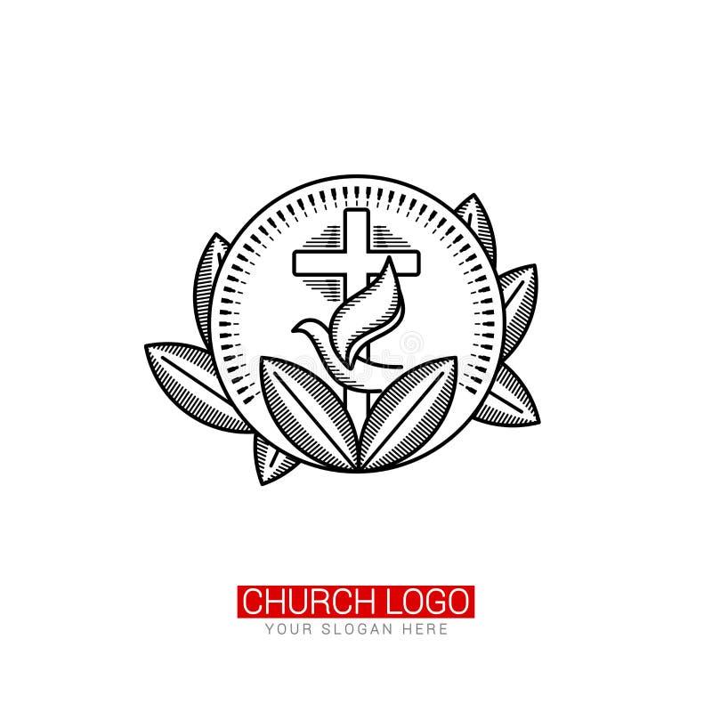 Kirchenlogo Christliche Symbole Kreuz des Retters Jesus Christ und der Taube, gestaltet durch Blätter und Strahlen stock abbildung