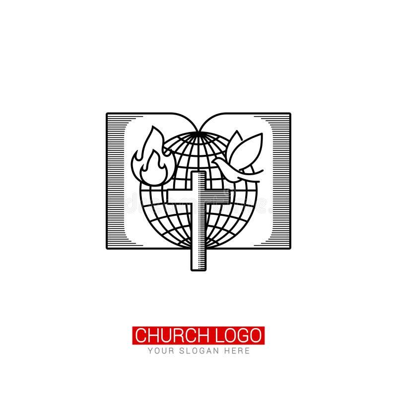 Kirchenlogo Christliche Symbole Kugel, offene Bibel und Taube mit Flamme vektor abbildung