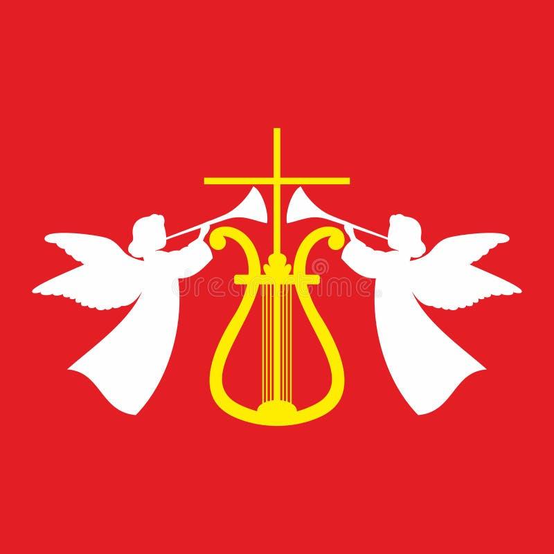 Kirchenlogo Das Kreuz von Jesus Christ, von Harfe und von Engeln, die in den Trompeten singen stock abbildung