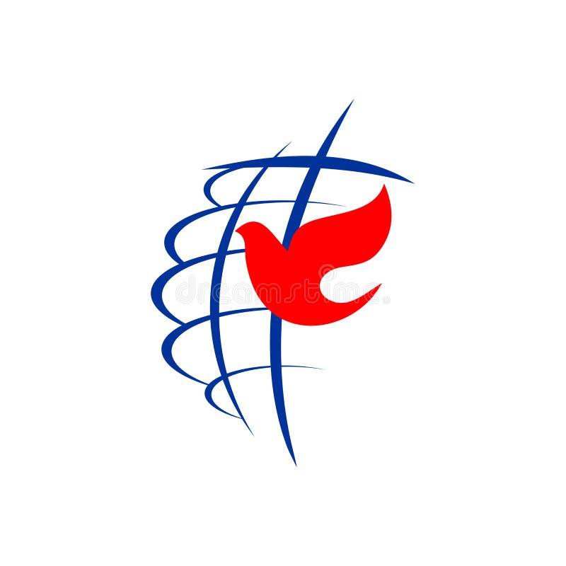 Kirchenlogo Die Kugel, das Kreuz von Jesus Christ und die Taube sind ein Symbol des Heiliger Geist vektor abbildung