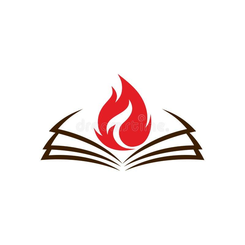 Kirchenlogo Eine offene Bibel und eine Flamme sind ein Symbol des Heiliger Geist lizenzfreie abbildung