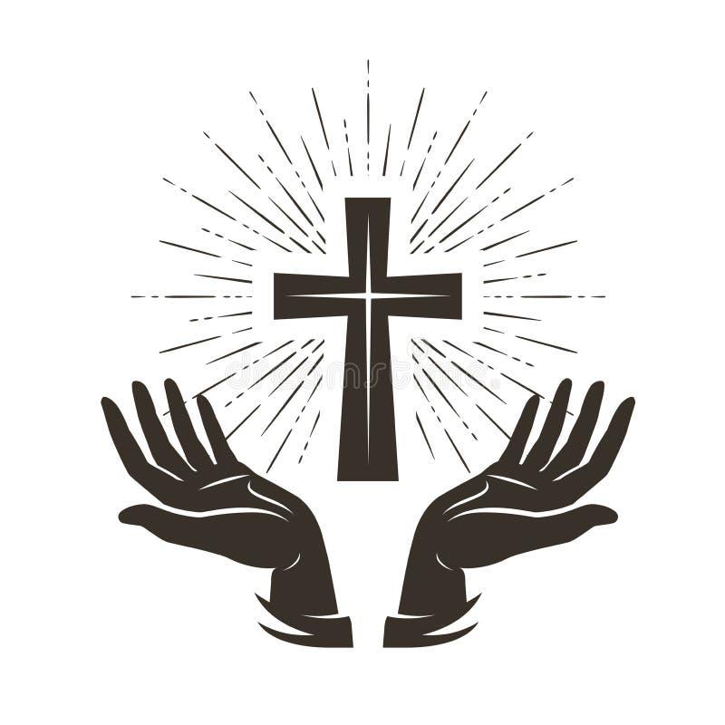 Kirchenlogo oder -aufkleber Gebet, Religionskonzept Weinlesevektorillustration stock abbildung