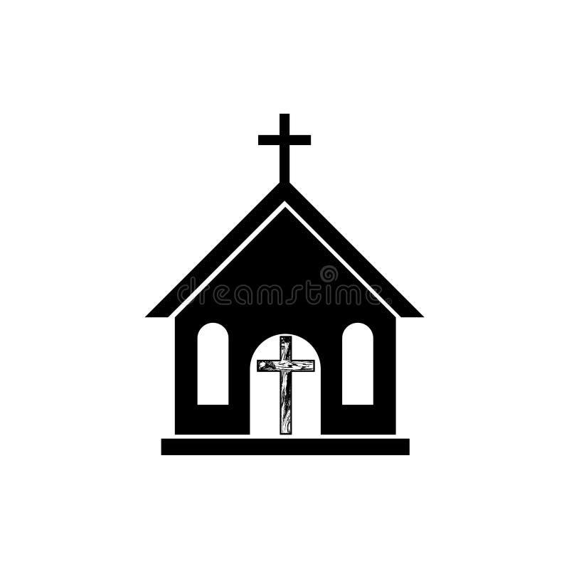 Kirchenlogo, Religion, Glaube, hölzerne Querikone oder Symbol vektor abbildung